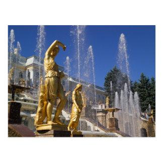 Carte Postale La Russie, St Petersburg, statues d'or dans