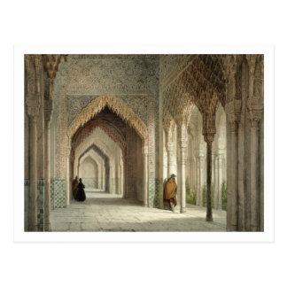 Carte Postale La salle de cour d'Alhambra, Grenade, 1853 (allumé
