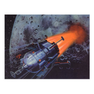 Carte Postale La science-fiction vintage, lune Rocket soufflant