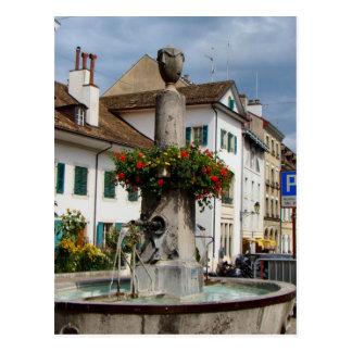 Carte Postale La Suisse, le Lac Léman, Nyon, fontaine