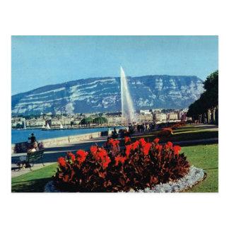 Carte Postale La Suisse vintage, Genève, l'eau de jet, jardins