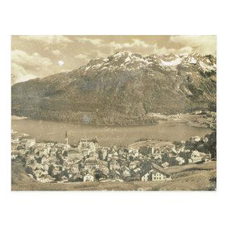 Carte Postale La Suisse vintage, St Moritz et le lac 1906