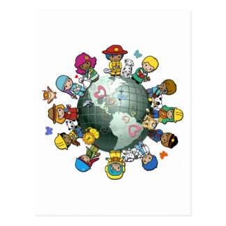 Carte Postale La terre de planète d'amour : Unissez pour la paix