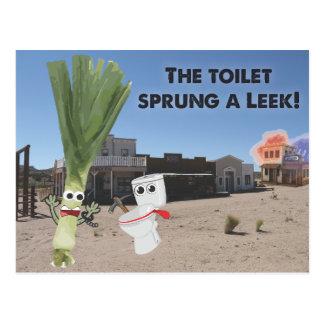 Carte Postale La toilette jaillie un poireau !