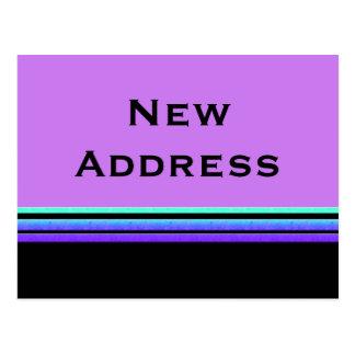Carte Postale la turquoise pourpre barre la nouvelle adresse