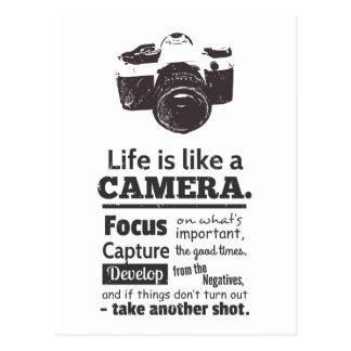 Carte Postale La vie est comme une citation d'appareil-photo,