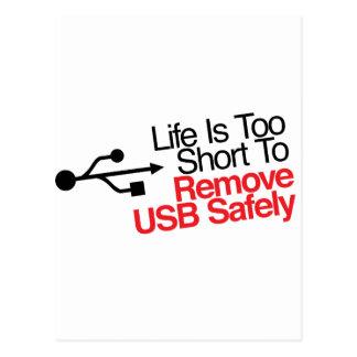 Carte Postale La vie est trop courte pour enlever USB sans