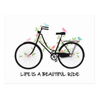 Carte Postale La vie est un beau tour, bicyclette vintage