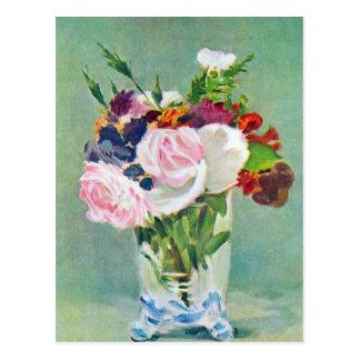 Carte Postale La vie toujours avec des fleurs par Manet
