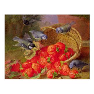 Carte Postale La vie toujours avec des fraises et des mésanges