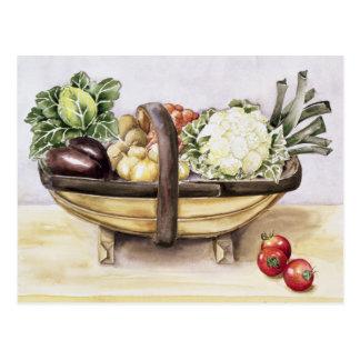 Carte Postale La vie toujours avec un trug des légumes 1996