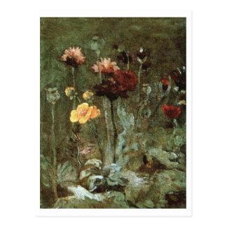 Carte Postale La vie toujours Scabiosa, Ranunculus, beaux-arts