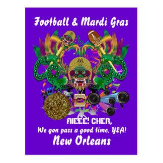 Carte Postale La vue de roi de dragon de mardi gras du football