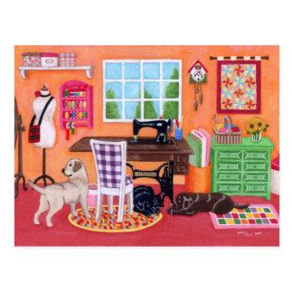 Carte Postale Labradors dans la pièce de couture de la maman