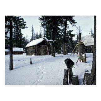 Carte Postale L'abri du chasseur, hiver de la Sibérie
