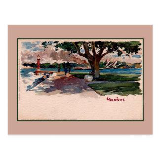 Carte Postale (Lac) aquarelle vintage de litho de Genève