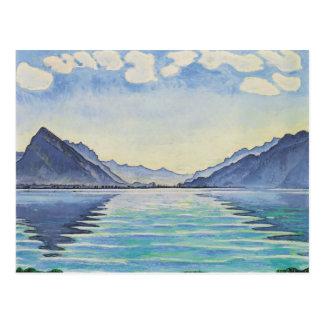 Carte Postale Lac Thun, réflexion symétrique ferdinand Hodler-