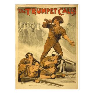 Carte Postale L'affiche WW1 vintage d'appels de trompette