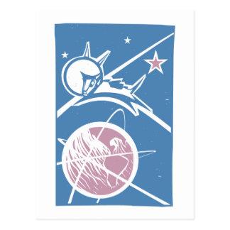 Carte Postale Laika au-dessus de la terre