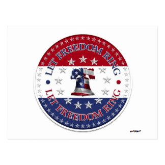 Carte Postale Laissez l'anneau des étoiles de Liberty Bell 13 et