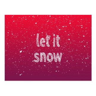 """Carte Postale """"Laissez-le neiger"""" typographie et gradient rouge"""