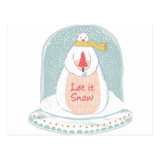 Carte Postale Laissez lui neiger Noël mignon