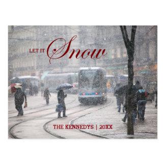 Carte Postale Laissez lui neiger - tempête de neige française