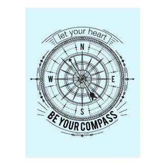 Carte Postale Laissez votre coeur être votre boussole