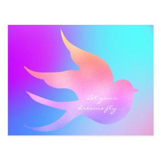 Carte Postale Laissez votre oiseau bleu rose de motivation de