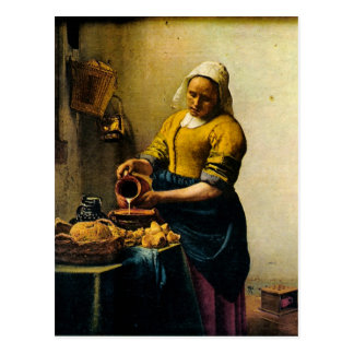 Carte Postale Lait se renversant de la bonne de Vermeer (circa