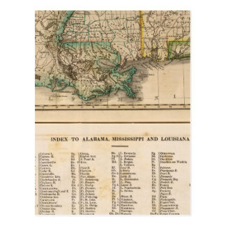 Carte Postale L'Alabama, Mississippi, Louisiane