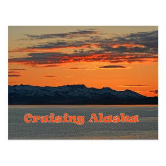 Carte Postale L'Alaska de croisière/coucher du soleil orange vif