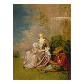 Carte Postale L'amant timide, 1718