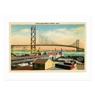 Carte Postale L'Ambassadeur Bridge cru de Detroit, Michigan