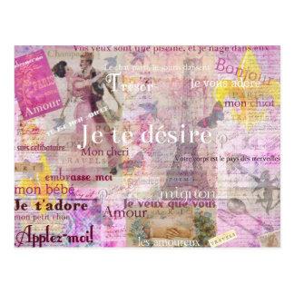 Carte Postale L'amour français romantique exprime l'art vintage