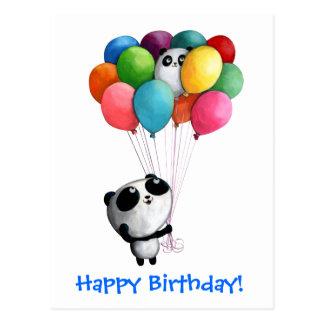 Carte Postale L'anniversaire monte en ballon l'ours panda