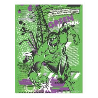 Carte Postale Lanterne verte - affiche absurde de collage