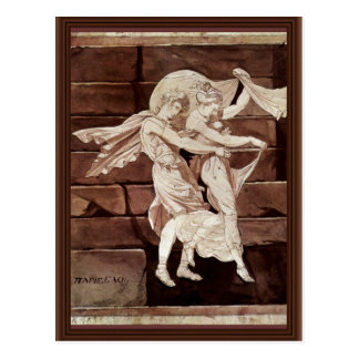 Carte Postale L'Aphrodite mène Paris à un duel avec Menelaus par