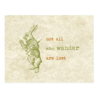 Carte Postale Lapin blanc, Alice au pays des merveilles