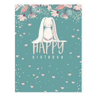 Carte Postale Lapin blanc et anniversaire des fleurs | joyeux