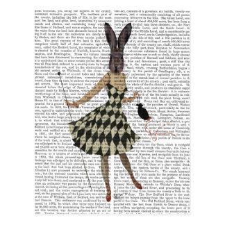 Carte Postale Lapin dans la robe blanche noire