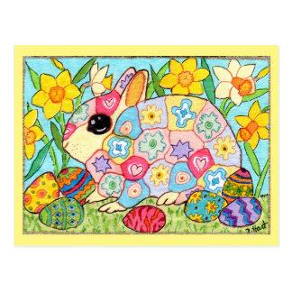 Carte Postale Lapin de Millefiori avec l'art populaire de fête