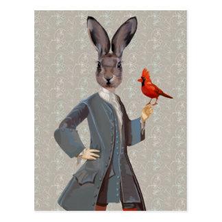 Carte Postale Lapin et oiseau