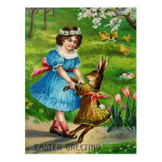 Carte Postale Lapin habillé victorien et fille de danse de