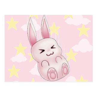 Carte Postale Lapin rose mignon de Kawaii tombant des étoiles