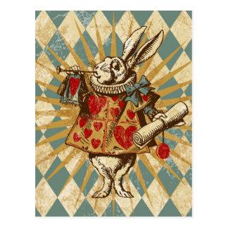 Carte Postale Lapin vintage de blanc d'Alice