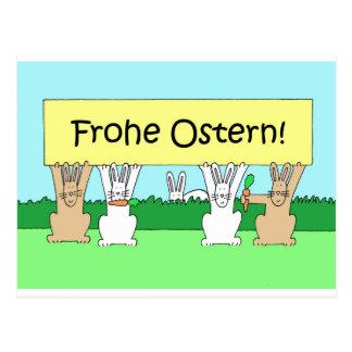 Carte Postale Lapins de Pâques heureux allemands