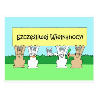 Carte Postale Lapins de Pâques heureux polonais
