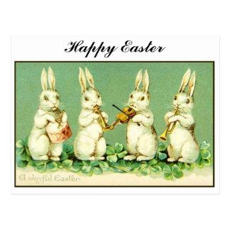 Carte Postale Lapins de Pâques musicaux vintages