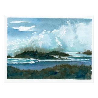 Carte Postale L'aquarelle d'Oahu Hawaï de plage de Pupukea